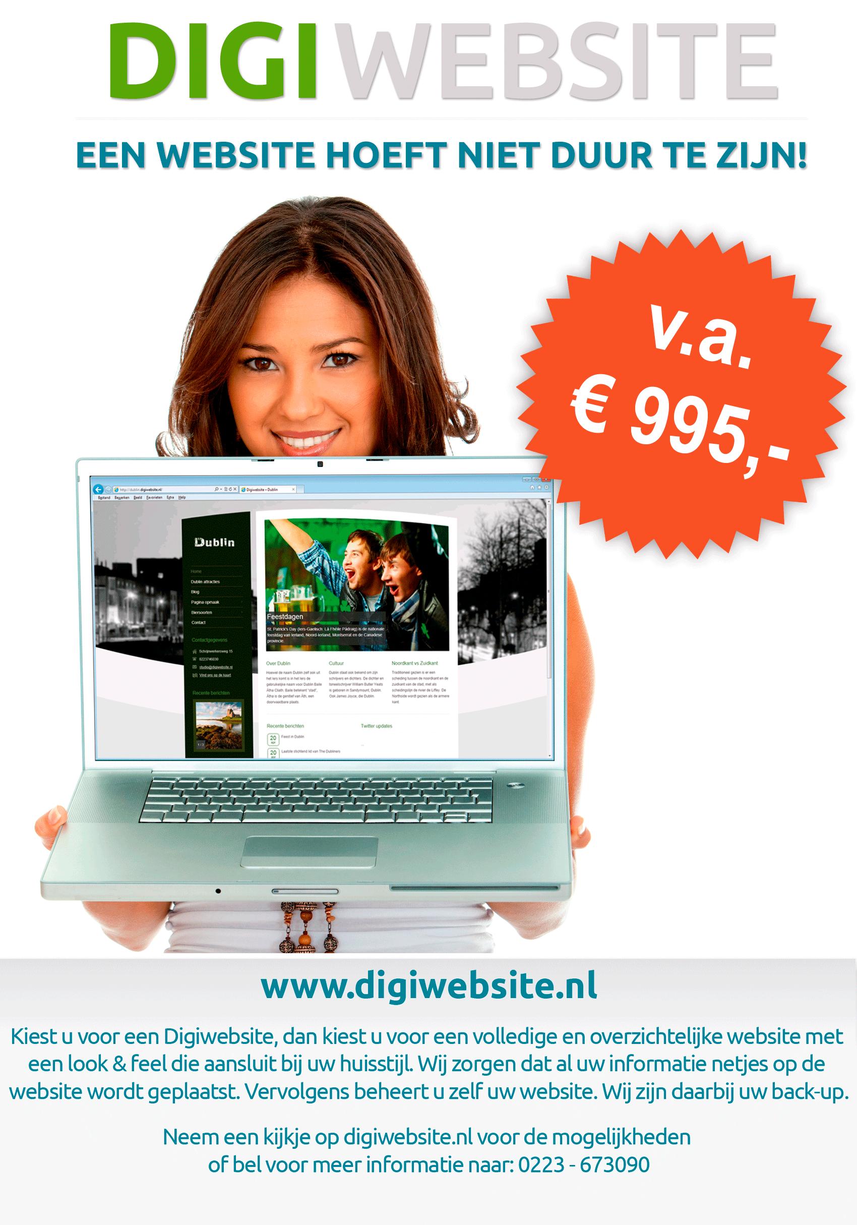 Digiwebsite - Een website hoeft niet duur te zijn.