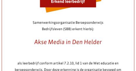 Akse Media erkend als leerbedrijf